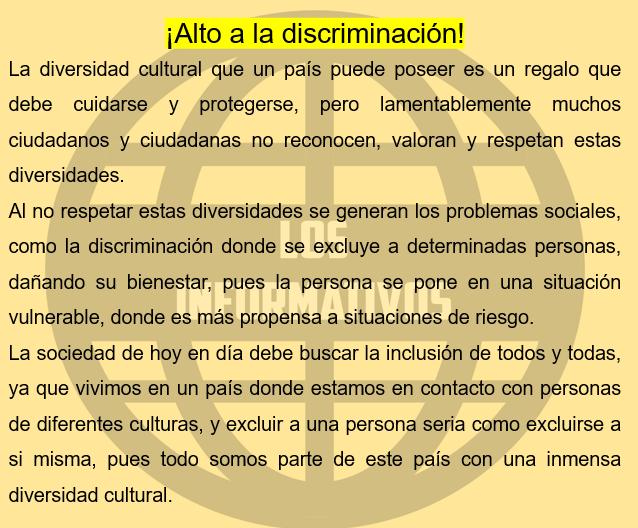 Escribe un texto corto donde argumentes por qué es necesario actuar y decir ¡Alto a la discriminación! Recuerda conectar y vincular tus ideas con coherencia y cohesión textual. Tu texto como máximo debe tener 3 párrafos.
