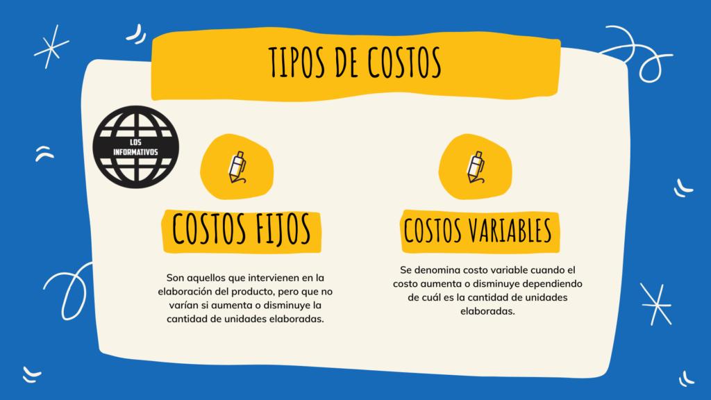 Tipos de costos : costos fijos y costos variables