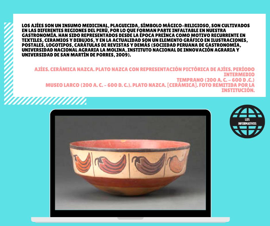 Los ajíes son un insumo medicinal, plaguicida, símbolo mágico-religioso, son cultivados en las diferentes regiones del Perú, por lo que forman parte infaltable en nuestra gastronomía. Han sido representados desde la época preínca como motivo recurrente en textiles, ceramios y dibujos, y en la actualidad son un elemento gráfico en ilustraciones, postales, logotipos, carátulas de revistas y demás (Sociedad Peruana de Gastronomía, Universidad Nacional Agraria La Molina, Instituto Nacional de Innovación Agraria y Universidad de San Martín de Porres, 2009)