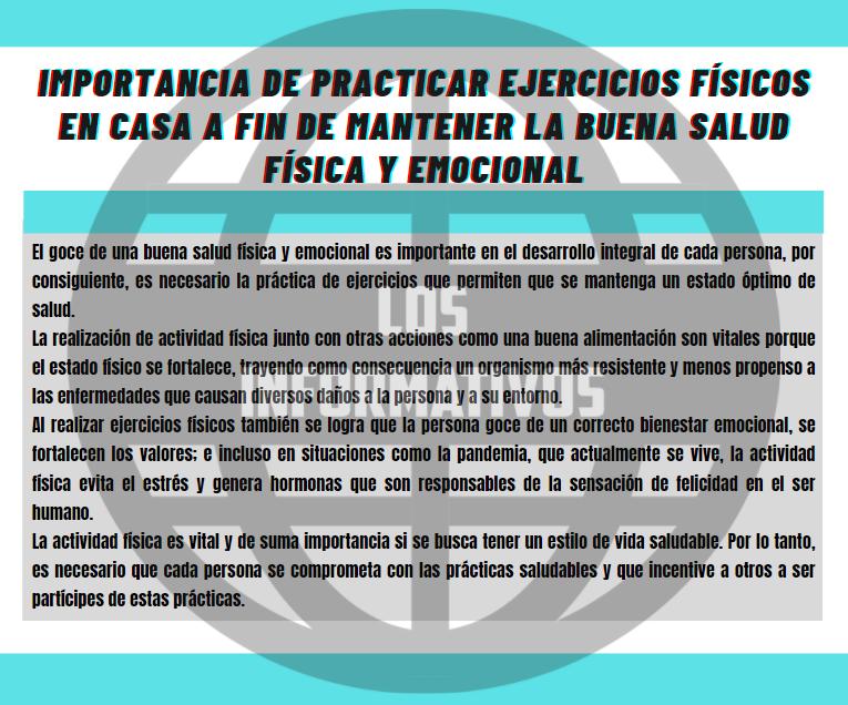 Importancia de practicar ejercicios físicos en casa a fin de mantener la buena salud física y emocional