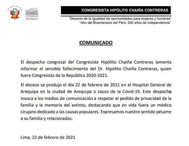Falleció congresista Hipólito Chaiña a causa de la COVID-19
