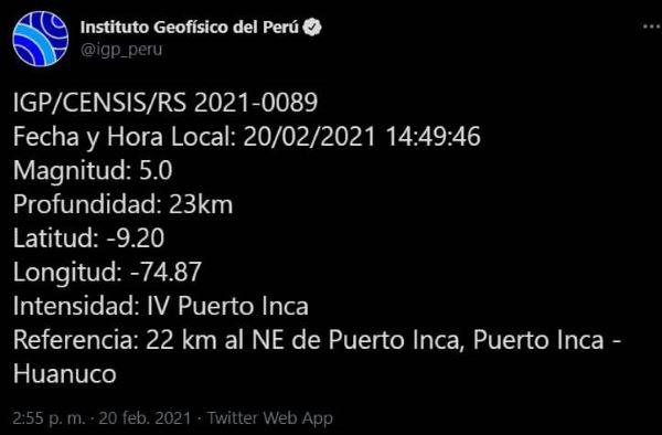 IGP reporta SISMO de 5.0 de magnitud en HUÁNUCO