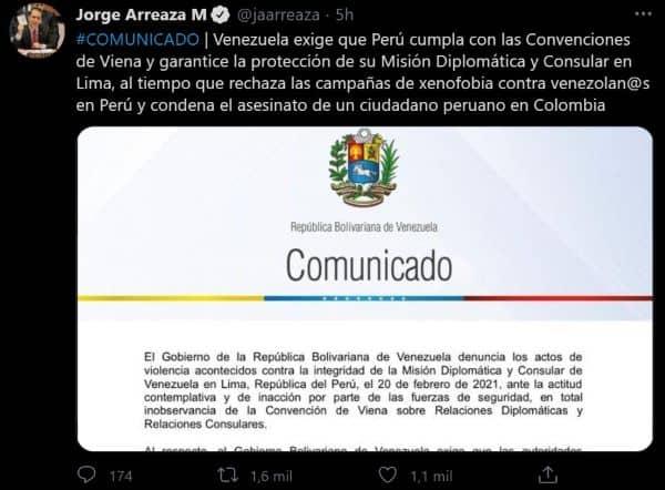 Venezuela exige que Perú respete a migrantes venezolanos
