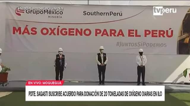Presidente Sagasti suscribió acuerdo para la donación de oxigeno