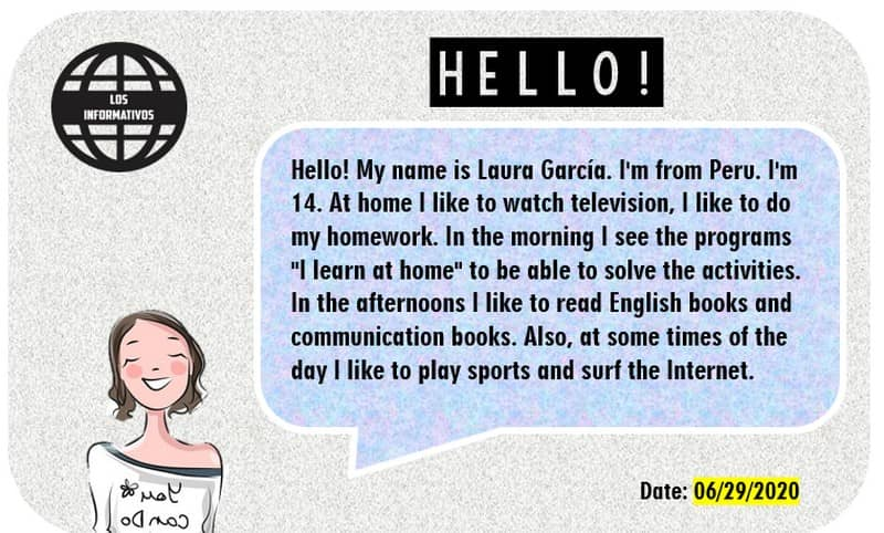 Introduce yourself. Draw yourself or paste a photo of yourself and write your presentation.