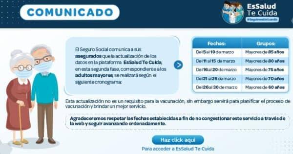 EsSalud: Cronograma de actualización de datos para adultos mayores