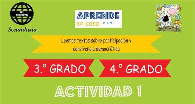 ACTIVIDAD 1- Leemos textos sobre participación y convivencia democrática – 3° de SECUNDARIA