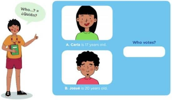 Activity 2: Do you vote? LEAD IN: Who votes in the elections? Carla or Josué? A. Carla is 17 years old. B. Josué is 20 years old. Who…? = ¿Quién? Who vote