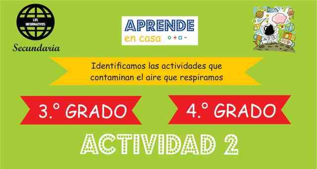 ACTIVIDAD 2- Identificamos las actividades que contaminan el aire que respiramos – 3° de SECUNDARIA