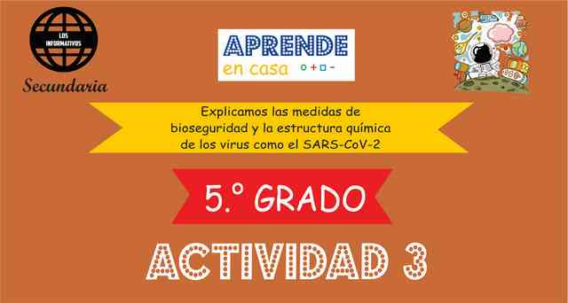 ACTIVIDAD 3- Explicamos las medidas de bioseguridad y la estructura química de los virus como el SARS-CoV-2 – 5° de SECUNDARIA