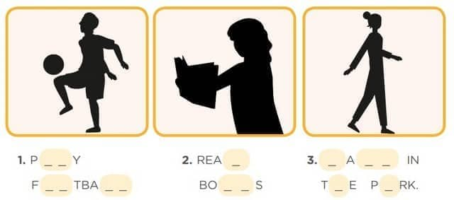 Activity 3: Reduce Stress LEAD IN: Actions to reduce stress Look at the pictures and fill in the missing letters.