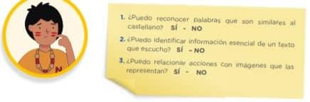 1. ¿Puedo reconocer palabras que son similares al castellano? SÍ - NO 2. ¿Puedo identificar información esencial de un texto que escucho? SÍ – NO 3. ¿Puedo relacionar acciones con imágenes que las representan? SÍ - NO