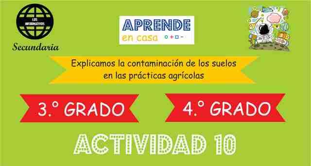 ACTIVIDAD 10 – Explicamos la contaminación de los suelos en las prácticas agrícolas – 4° Secundaria