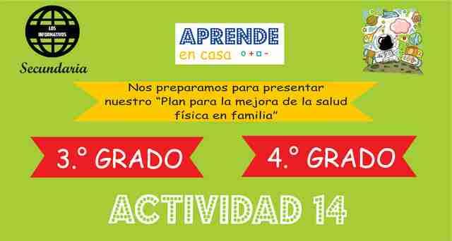 """ACTIVIDAD 14 – Nos preparamos para presentar nuestro """"Plan para la mejora de la salud física en familia"""" – 4° Secundaria"""
