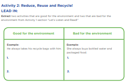 """Activity 2: Reduce, Reuse and Recycle!  LEAD IN: Extract two activities that are good for the environment and two that are bad for the environment from Activity 1 section """"Let's Listen and Read!"""" Good for the environment Bad for the environment"""