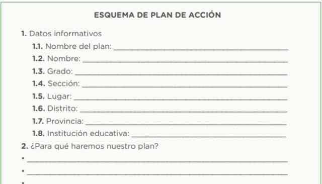 Planificamos nuestro plan de acción. Ahora, redactamos la versión final del plan de acción con base en el esquema anterior.