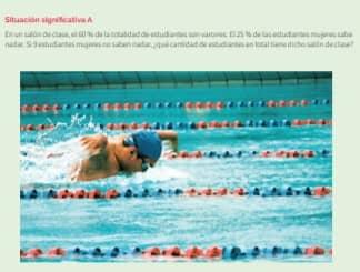 En un salón de clase, el 60 % de la totalidad de estudiantes son varones. El 25 % de las estudiantes mujeres sabe nadar. Si 9 estudiantes mujeres no saben nadar, ¿qué cantidad de estudiantes en total tiene dicho salón de clase? 1. Describe el procedimiento que se utilizó para dar respuesta a la pregunta de la situación significativa. 2. ¿Podrías utilizar otro procedimiento para dar respuesta a la pregunta de la situación significativa? Explica cómo.