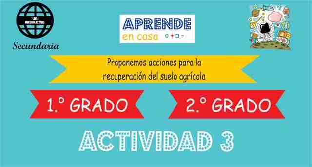 ACTIVIDAD 3 – Proponemos acciones para la recuperación del suelo agrícola – 2° Secundaria