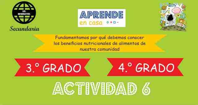 ACTIVIDAD 6 – Fundamentamos por qué debemos conocer los beneficios nutricionales de alimentos de nuestra comunidad – 4° de SECUNDARIA